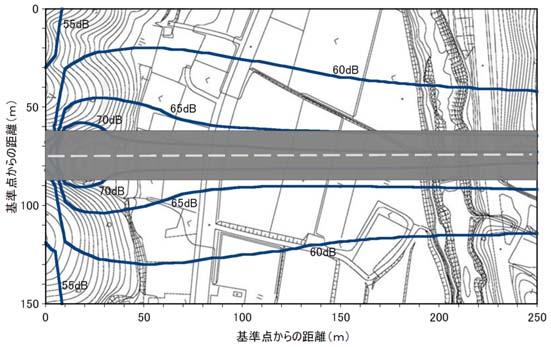 トンネル部騒音平面予測結果2